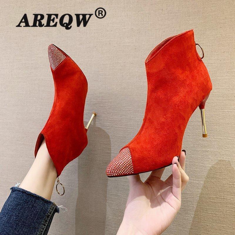 Mulheres Moda Botas Casual PU Couro Salto Alto Mulher Borracha Botas Vermelho
