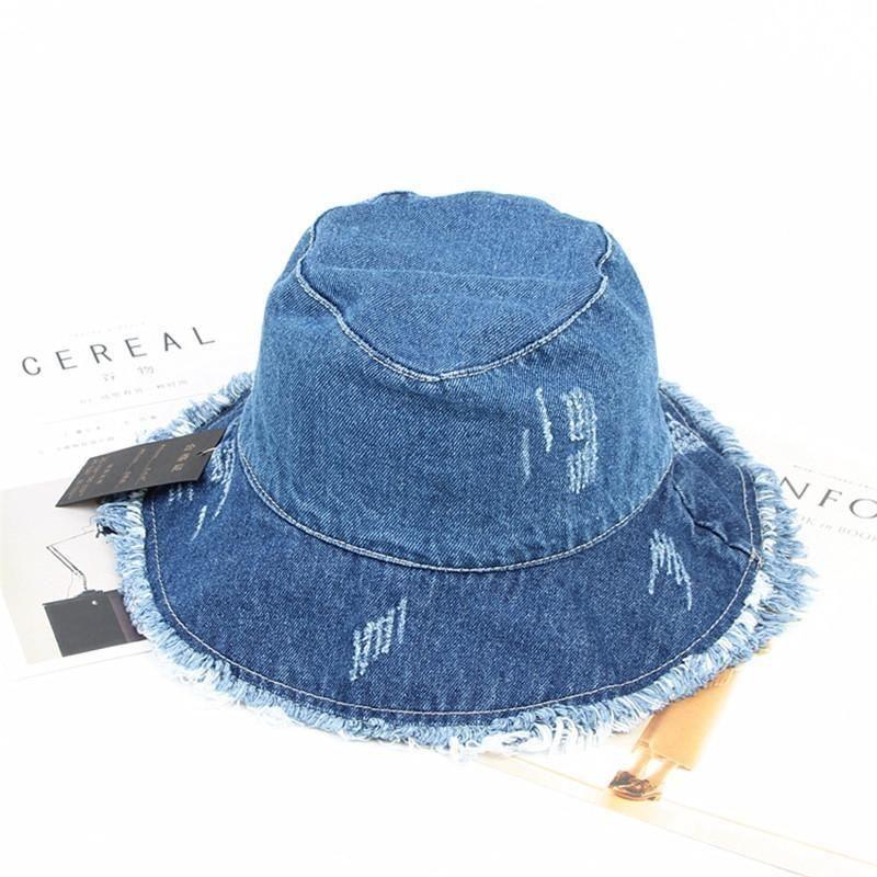 Cloches 2021 솔리드 데님 레트로 양동이 모자 어부 야외 여행 태양 모자 모자 소녀와 여성 275