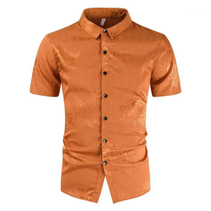 Camicie Summer Summer Casual Collo Designer Designer Tshirts Colore solido Nuovo stile Slim Apparel Mens Stampa floreale