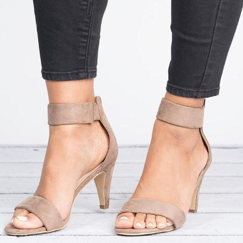 Femmes Sandales Sandales Moyenne Talon Open Toe Summer Shoes 5cm Talons Sandales Sandales Femelle Plus Taille 43 Sandalias Mujer Mujer Mince Chaussures Chaussures Femme XKD4137