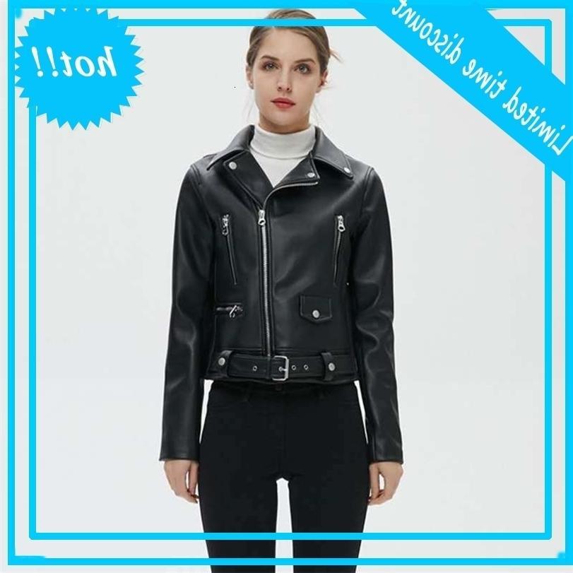2020 nuevas mujeres reno invierno negro chaquetas de cuero sintéutico básico JAS girando la chaqueta del motor del motor del motor con el cinturón