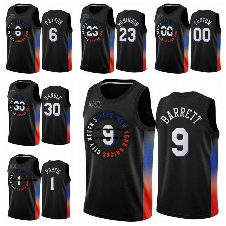 Нью-ЙоркКолебаниеБаскетбол Джерси Мужчины Дети RJ 9 Barrett 6 Payton Kevin Knox II Youth 2021 Swingman City Black Edition S-XXXL