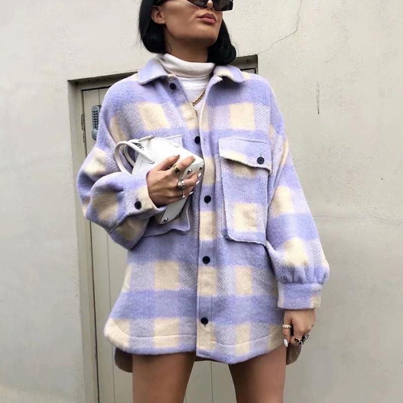 Femmes 2020 Mode surchemises surdimensionné manteau de veste à carreaux Woollen Vintage poche asymétrique Femme d'extérieur Chic Tops C1105