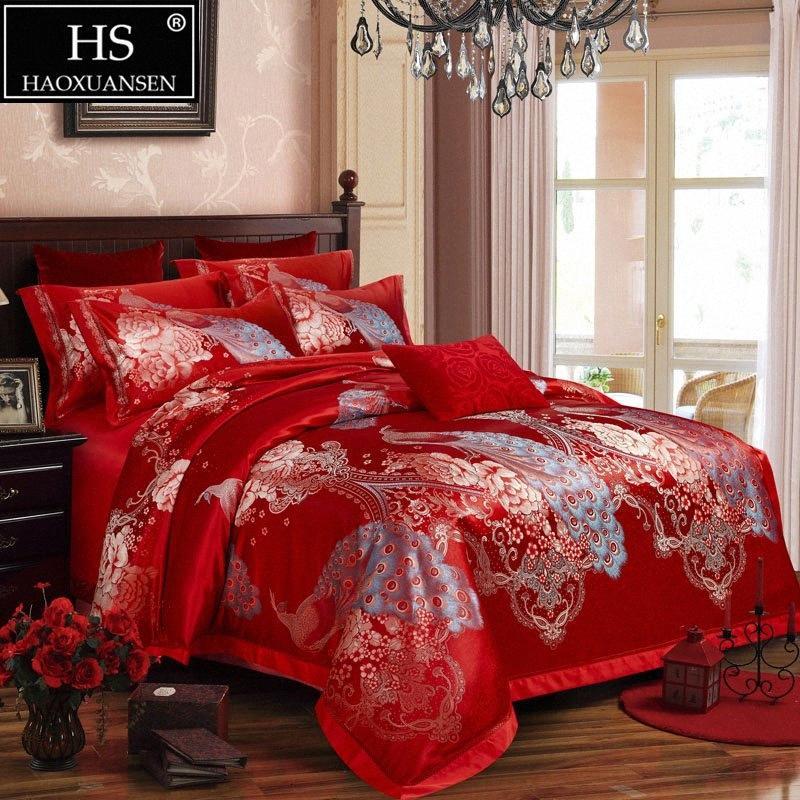 Home Textile Rainha King Size quatro peças da cama conjunto caixa de presente vermelha azul casamento dourado Jacquard Peacock Peony Quarto Comforters yh7p #