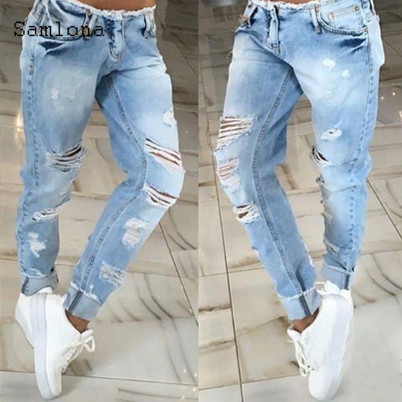 Samlona homens jeans jeans calças jeans 2020 outono slim fundos calça macho patchwork buraco rasgado jeans jeans skinny calças