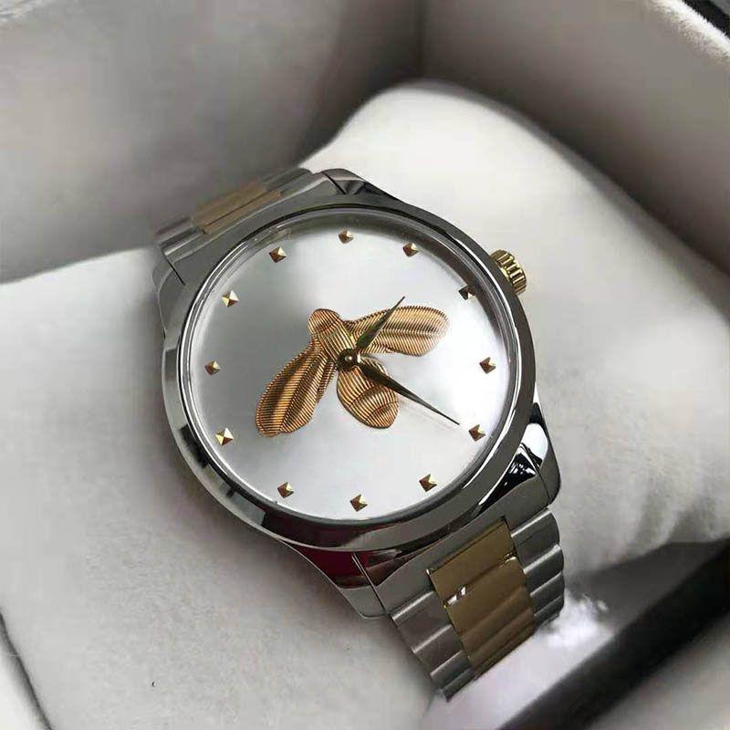 Ultra sottile orologio da polso di lusso amanti coppie stile classico bee modelli orologi 38mm 28mm cassa in argento da uomo Designer Designer orologi al quarzo