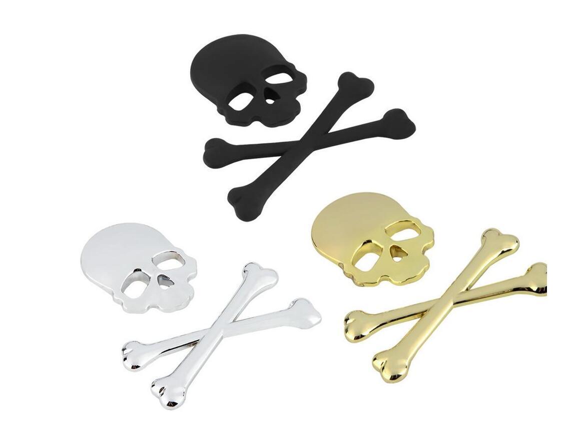 3D 3M scheletro del cranio di metallo Crossbones Auto Moto Sticker Skull distintivo dell'emblema adesivi auto styling accessori