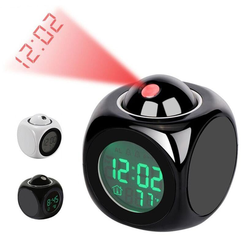 알람 시계 밤 빛 프로젝터 램프 음성 온도 홈 테이블 장식 벽 천장에 디지털 시간 투영