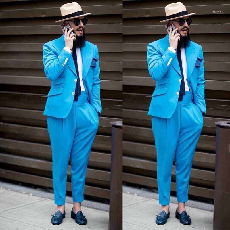 Мужские костюмы Blazers повседневные костюма Homme Blue Wedding смокинги две кнопки пикированные отвороты жених носить вечеринку роль мужчин Blazer костюм (куртка + брюки)
