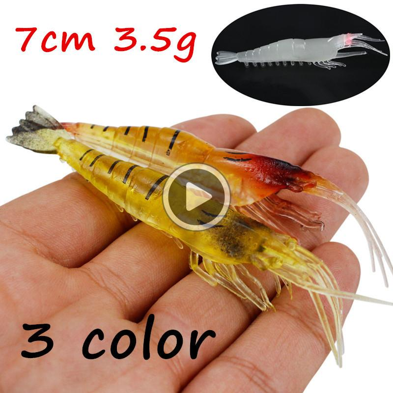 05ER 20pcs/lot 3 Colors 7cm 3.5g Simulation Shrimp PVC Fishing Lure Soft Baits & Lures BL_4