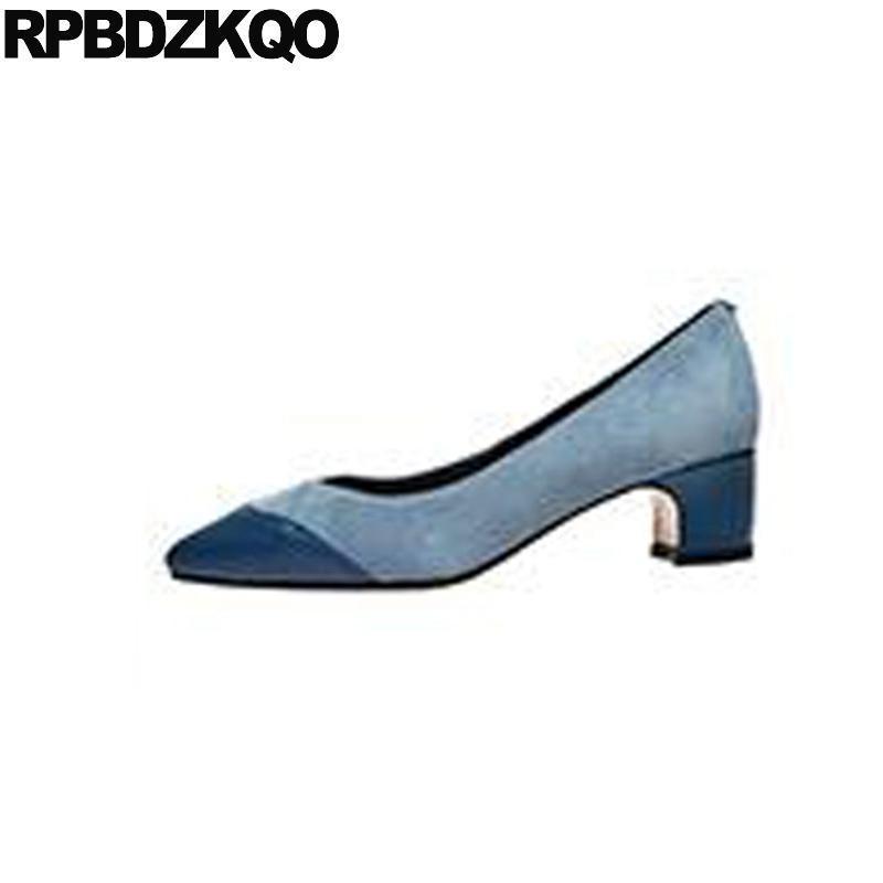 Dress Scarpe Suede Size 33 Block Pompe formali Crossdresser 11 43 4 34 Blue Green Big Donne 45 Plus punta a punta Spessa 12 44 tacchi medi
