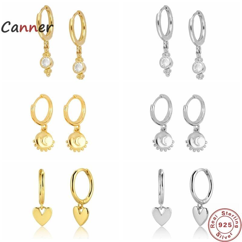 CANNER S925 Boucles d'oreilles en argent sterling pour femmes Sous Sun Moon CZ Zircon Pendentif Diamant Perçage Boucle d'oreille Bijoux Pendientes