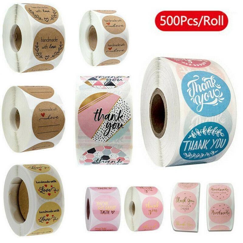 500 teile / rolle 10 Arten Blumen Herz danke Haftkleber Aufkleber Scrapbooking Handgemachte Business Packaging Seal Dekoration Aufkleber1