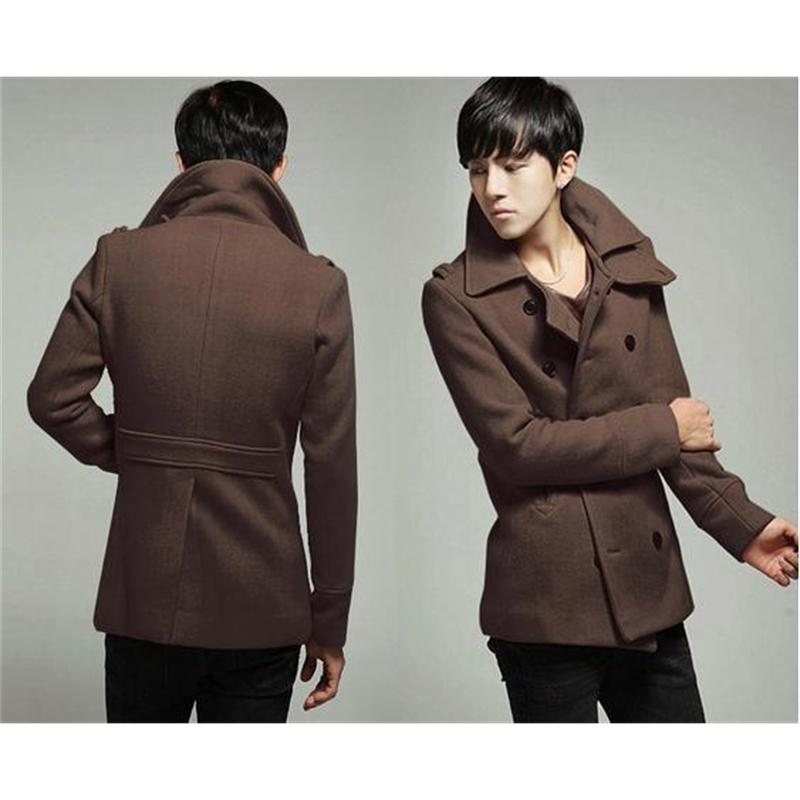 Одежда Пальто куртки Смесится модные плед Кашемире шерсть отворота мужская шерстяная куртка пальто # 72019