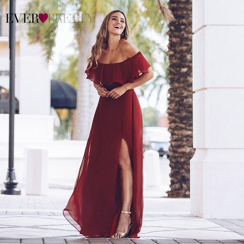 Maxi robes pour femmes robes de soirée jamais jolie EP00968 Sexy une ligne d'épaule à épaule de longues robes de fête de fête avec des volants 201113