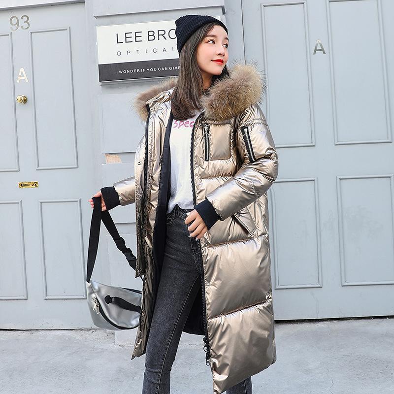 Salir de la moda de las mujeres de plata larga Donjackets de Down Parka de invierno Fat Cabo brillante Gran chaqueta de la piel de las mujeres