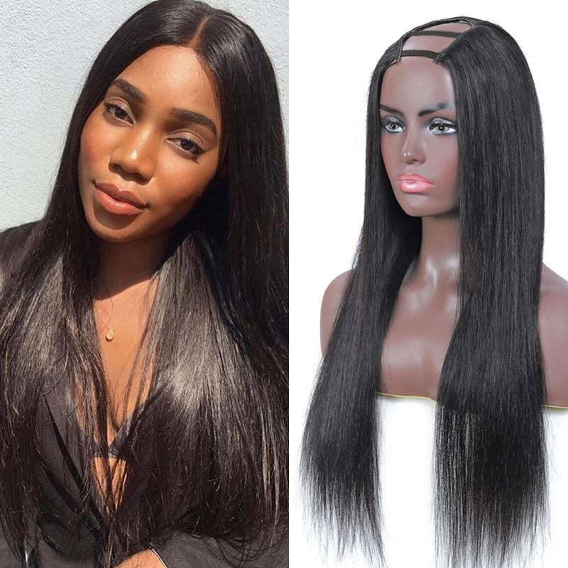 U جزء مستقيم الشعر البشري الباروكات 150٪ الكثافة مستقيم شعر مستعار upart البرازيلي العذراء الشعر الباروكات