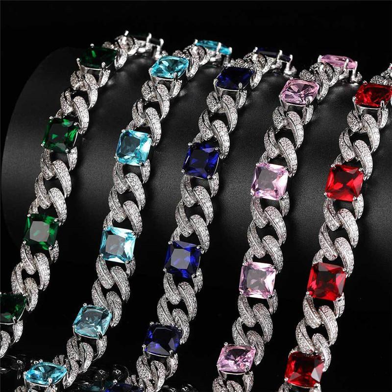 Nueva Moda 12 mm 16/18 / 20 pulgadas Bling Bling Bling CZ Cuban Cadena Cuba Collar para Hombres Mujeres Joyería