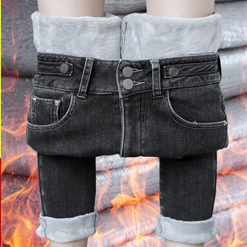 Kadın Kot 2021 Kış Kadınlar Yüksek Bel Fleeces Sıcak Jean Pantolon Siyah Ince Kalınlaşmak Kalem Kadın Rahat Giyim Kar Bootcut P9522