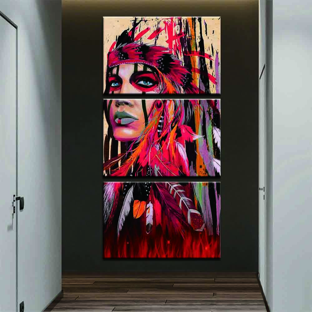 3 Pieces Abstract Red Indian Colorful Feather Picture Home Decor Modern Wall Art Framework Poster Print Canvas Painting