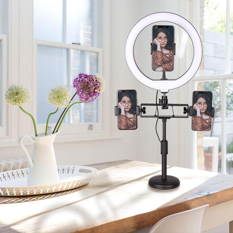 10 Inch Ring Light with Stand LED Camera Selfie Light Ring for Phone Tripod and Phone Holder for Video Photography