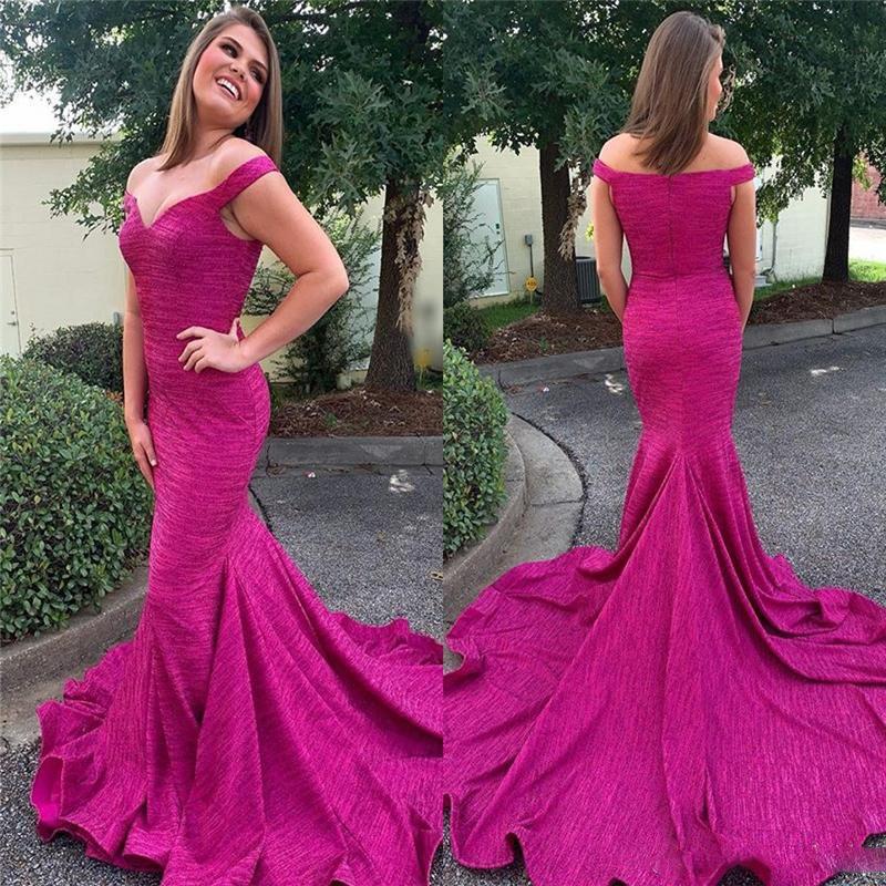 Fucsia del hombro de la sirena de los vestidos del desfile con raso de tren cremallera de la espalda formal vestidos de noche de la celebridad Vestidos túnica de soiree