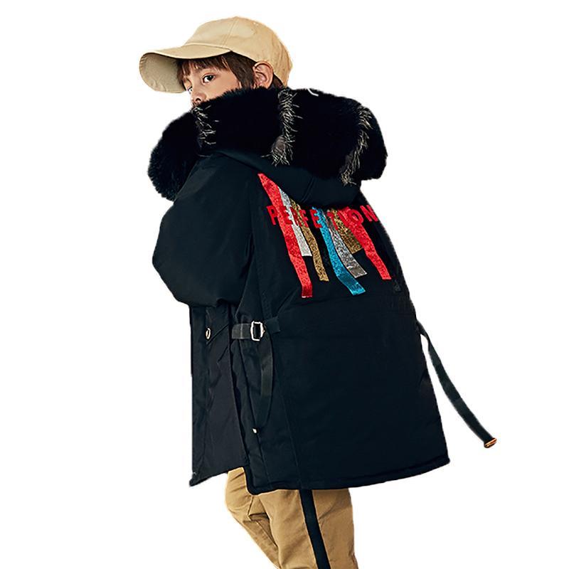 -30 Grado Chaqueta para niños Invierno New Boys and Girls Long Jacket Kids Fashion Coat for Boy Parkas Snowsuit 2-12 años 20117