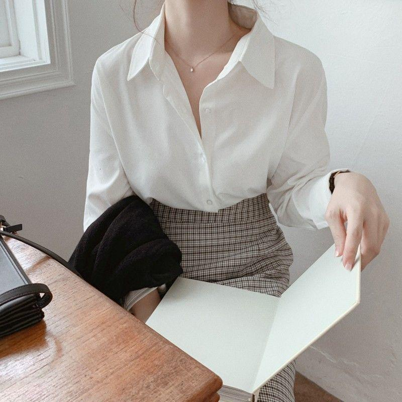 2021 Гонконг Свободные ретро Длинные женские дизайнерские нишевые новые весенние и осенние порта белая рубашка HBMH