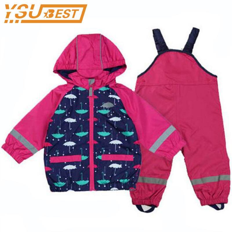 Baby Girls Waterproof Windproof Kids Girls Jacket Clothing Suit+Overalls Child Raincoat Reflective Coat Warm Polar Fleece Jacket LJ200831