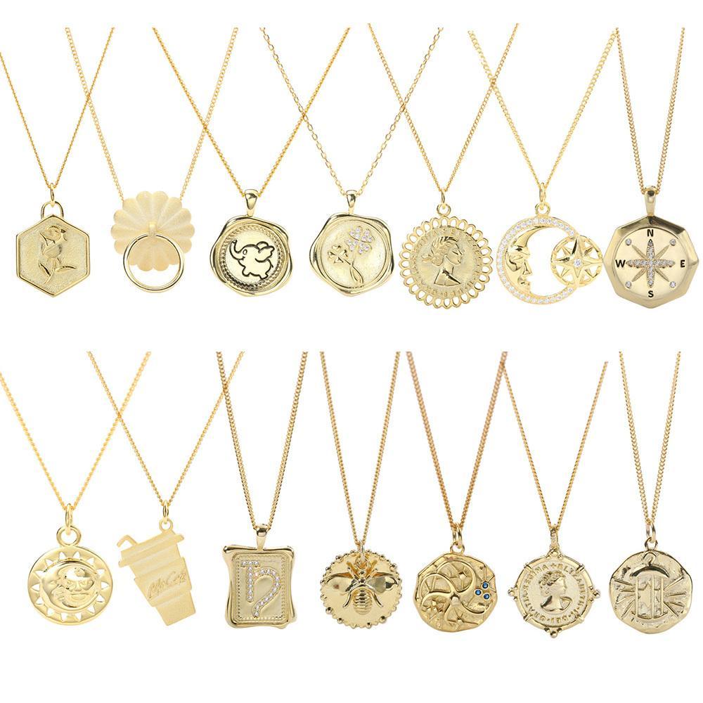 DS1553 joyería Trusta collar de monedas de plata 925 Gargantilla de oro del colgante del encanto del regalo de cumpleaños collar de la mujer de moda 1020
