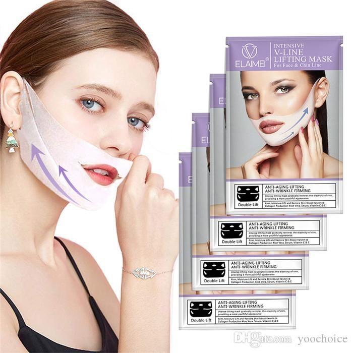 Elaimei 조 귀 루프 얼굴 V 모양의 마스크 3D 턱 리프팅 퍼밍 스타일 V 라인 얼굴 마스크 칙 4 개 / 설정 붓기 Dldow 감소