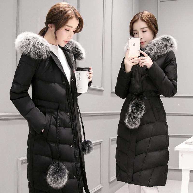 Осень зима 2021 Новая женская средняя длинная куртка с утолщенным воротником и большим размером над коленом
