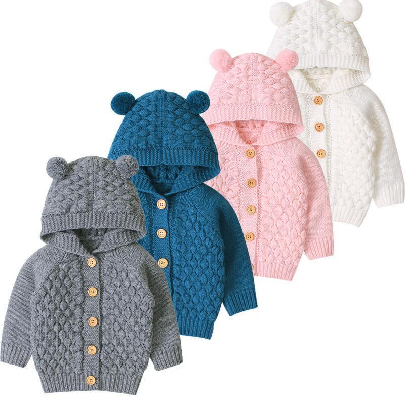 Oreille mignon enfant en bas âge Garçons Filles Enfants Bébé Pull à capuche en tricot chaud manteau d'extérieur
