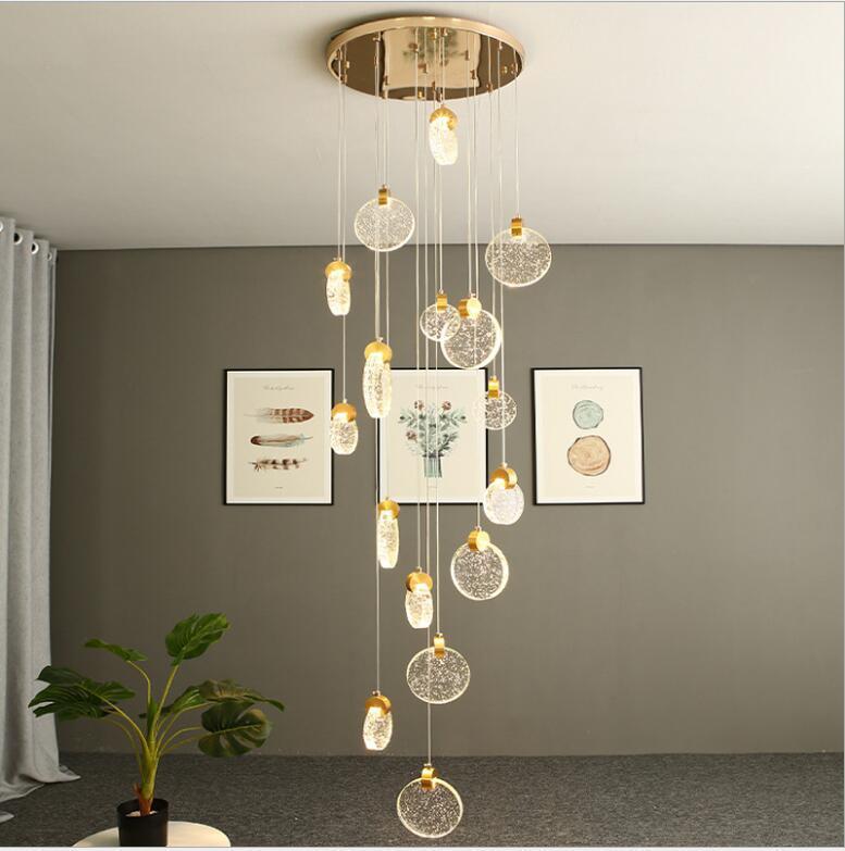 Escalier lustre longue villa simple ligne nordique personnalité créative lampe rotative duplex construction saut en hauteur Chandelier