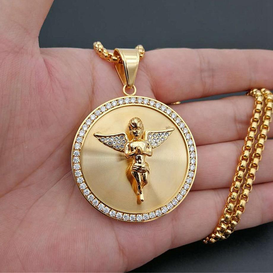 Hip Hop Iced Out Angel Wings Pendant Necklace For Women Men Gold Color Stainless Steel Round Necklace Bling Jewelry 0927