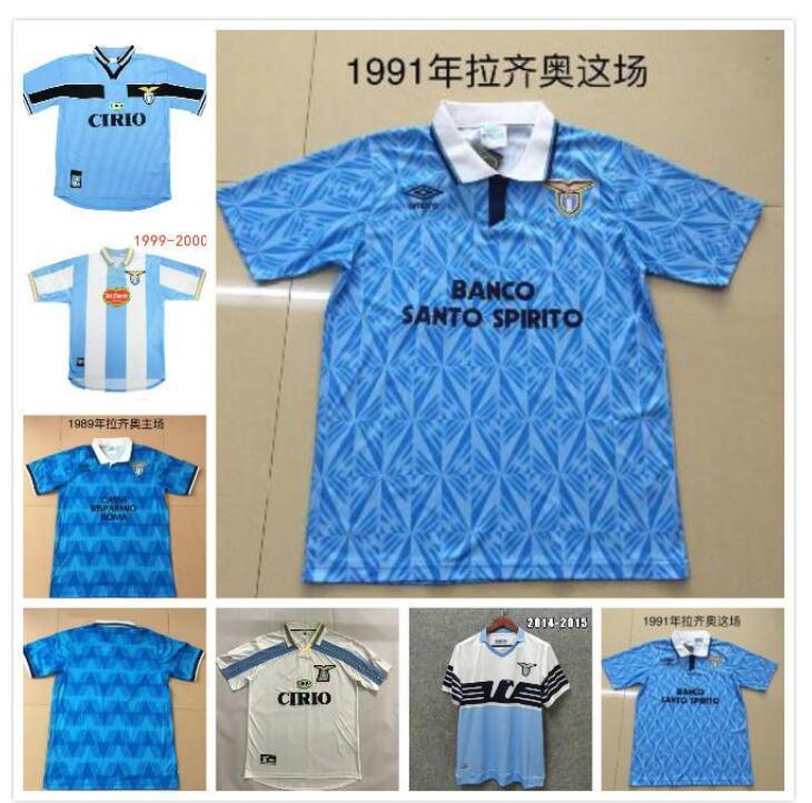 Retro Lazio Jerseys 1989 1992 1999 2000 2014 Nesta Crespo Salas Mihajlovic Veron Stankovic Inzaghi Nedved 91 92 99 00 Camisa de futebol