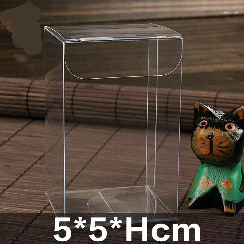 Regalo Wrap 5 * 5 * H cm CM Trasparente Impermeabile Cancella scatole in PVC Imballaggio Plastica Candy Box Storage EventParty Forniture Scatole da sposa 1