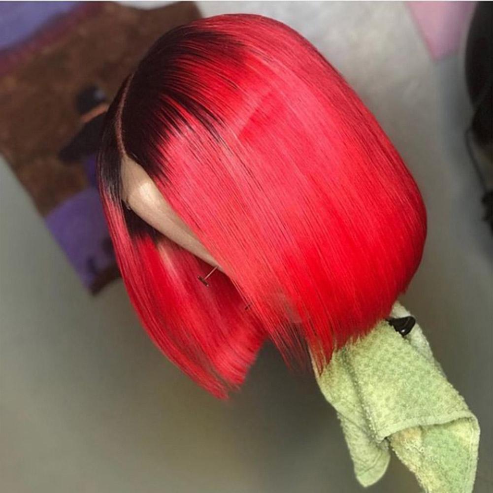 Kadınlar için vancehair Orta Kısım Dantel Bölüm Peruk 13x4x1 İnç Dantel Ön İnsan Saç Peruk Kısa Düz BOB Peruk% 150 yoğunluk Remy saç