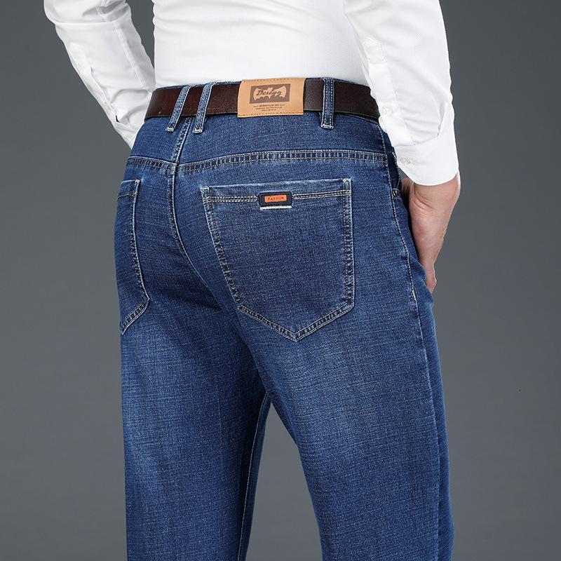 2020 Sonbahar Kış Erkek Düzenli Fit Casual Elastik Moda Jeans Stretch Mavi Siyah Denim Yumuşak Pantolon Pantolon Boyut 28-42,8097