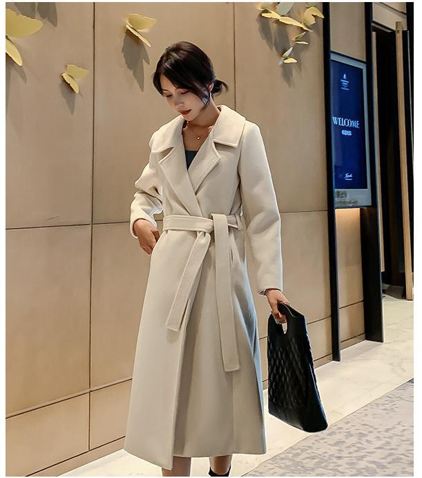 2020 Manteau d'hiver Mode Femmes Mode Tie vrac Long manteau de laine Manteaux pour les femmes C56