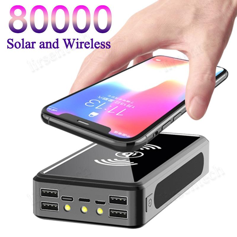 80000mAh Wireless-Sonnenenergie-Bank-bewegliches Telefon schnelles Aufladen externe Ladegerät Powerbank 4 USB-LED-Beleuchtung für Xiaomi iphone