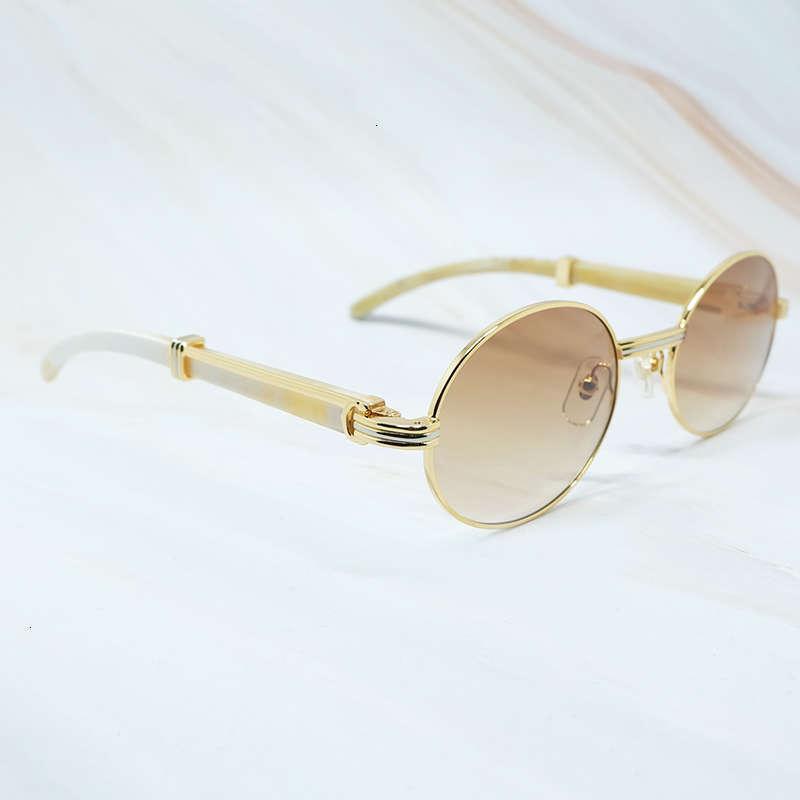 Ienbel Oval Hombre Gafas de sol Metales de moda Diseñador de lujo Búfalo Búfalo Cuerno Vidrio Vintage Tampones Tampones Retro Redondo Vidrios