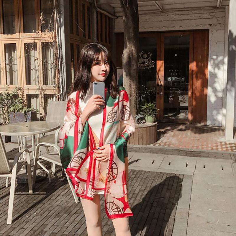 2021 Новые Летние Женщины Шелковый шарф Бич Хаджаб Шали и обертывания Женские Фолеус ECHARPE Дизайнер Бандана