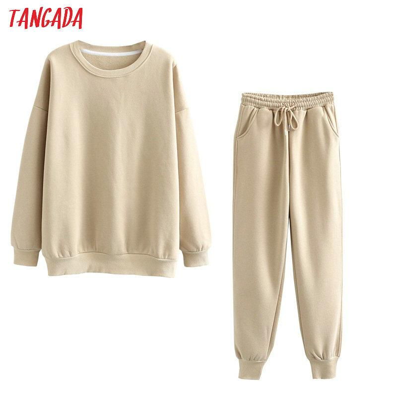 Caldo Cotone Donne Giallo Tangada 2020 felpa 100% autunno Suit 2 Imposta Inverno Pezzi o collo con cappuccio Felpa Pantalone Tute 6l24