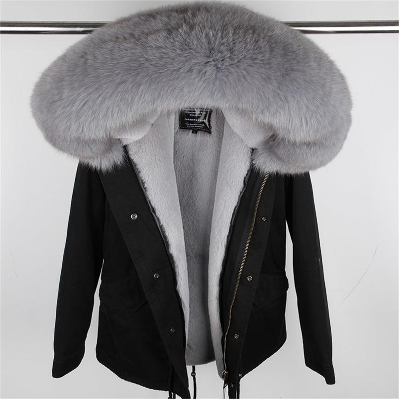 Mao Mao Kong 100% real guaxinim colarinho de pele de inverno casaco de pele de inverno mulheres camuflagem preto parkas de algodão faux peles revestimento casaco revestimento 201123