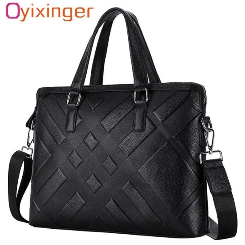 Men's Genuine Leather Briefcase Satchel Bags For Men Business Fashion Soft Cowhide Shoulder Laptop Bag Bolsa Masculina Cartable Q0112