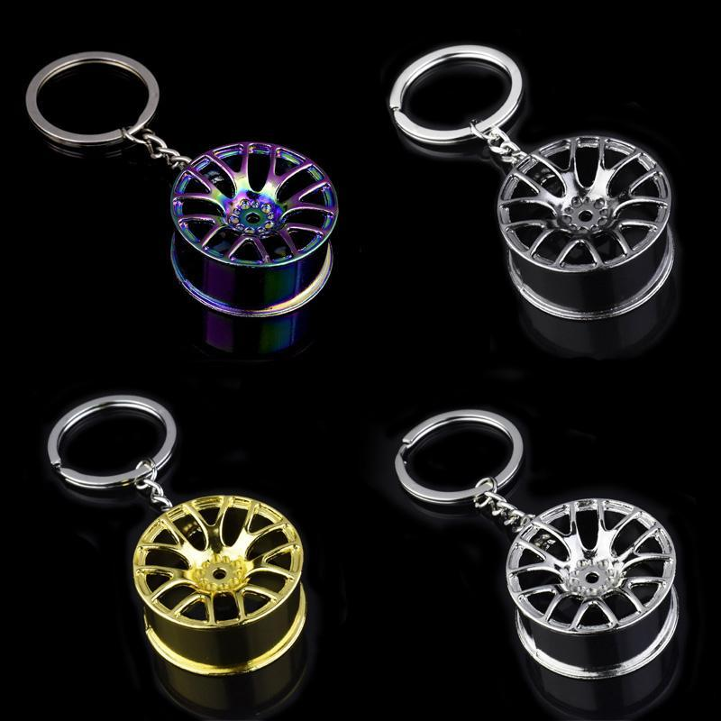 Car Wheel Hub Keychains Tire Styling Car Key Ring Auto Modification Parts High Quality Mini Metal Mechanical Keychain