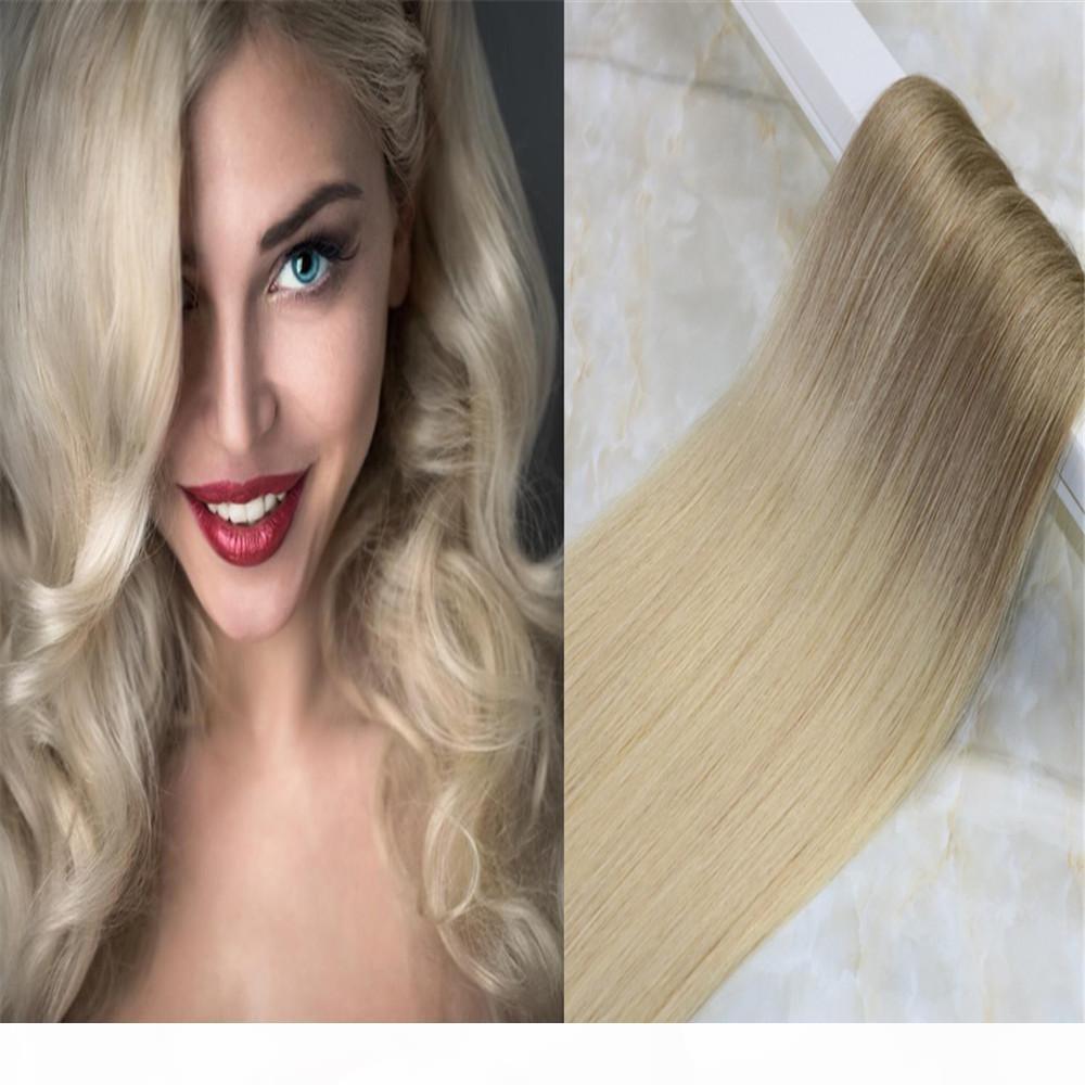 Лента в Ombre Hair Extensions PU кожи Волосы Уток Выметание Цвет # 8 светло-коричневого до # 613 блондин Цвет 50г 20шт в пакете