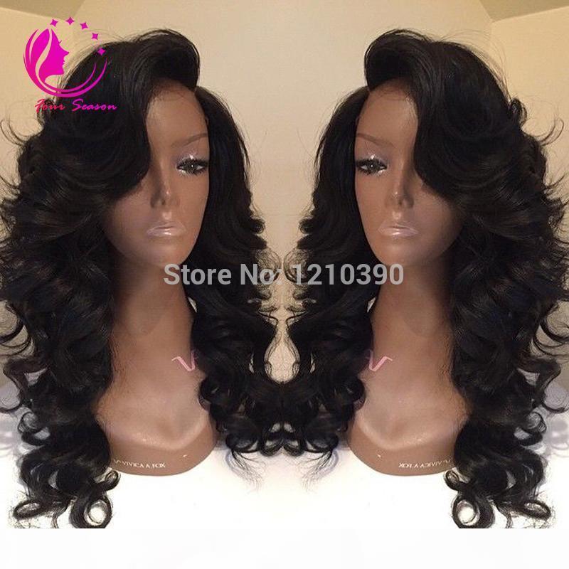 Glueless plein cheveux humains dentelle perruques perruques avant de dentelle de vague de corps avec une frange côté cheveux humain vierge brésilienne perruques ondulées pour femmes noires