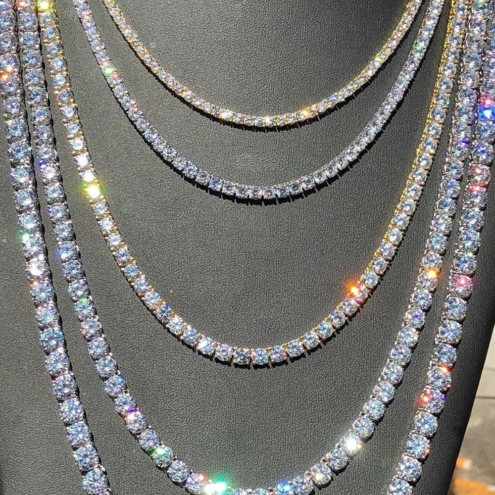 Мужские Zircon Ювелирные Изделия Белые Хип-Цепочки Хмель Женщины Теннисное Ожерелье Мода 4 мм Серебряная Золотая цепь Ожерелья